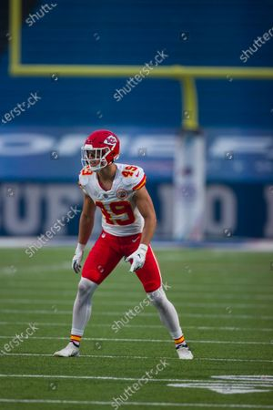 Kansas City Chiefs free safety Daniel Sorensen (49) stands in position during the first half of an NFL football game against the Buffalo Bills, in Orchard Park, N.Y