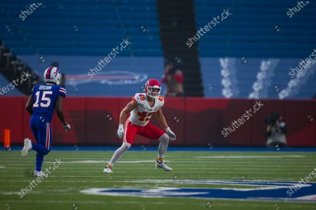 Kansas City Chiefs free safety Daniel Sorensen (49) moves in the secondary against the Buffalo Bills during the first half of an NFL football game, in Orchard Park, N.Y