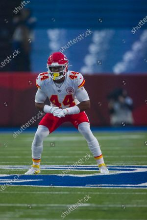 Stock Image of Kansas City Chiefs linebacker Dorian O'Daniel (44) stands in position against the Buffalo Bills during the first half of an NFL football game, in Orchard Park, N.Y