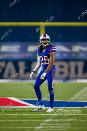 Buffalo Bills cornerback Josh Norman (29) stands on the field between plays against the Kansas City Chiefs during the second half of an NFL football game, in Orchard Park, N.Y