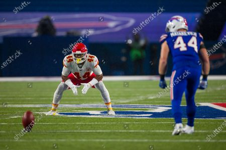 Stock Picture of Kansas City Chiefs linebacker Dorian O'Daniel (44) stands ready on special teams against the Buffalo Bills during the second half of an NFL football game, in Orchard Park, N.Y