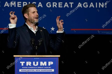 Eric Trump, son of President, Donald Trump, speaks with supporters at a campaign rally, in Manchester, New Hampshire