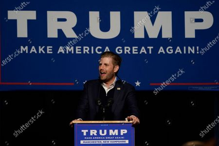 Stock Image of Eric Trump, son of President, Donald Trump, speaks with supporters at a campaign rally, in Manchester, New Hampshire