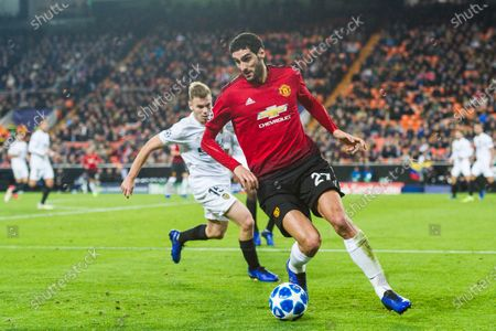 Marouane Fellaini of Manchester United in action during the UEFA Champions League 2018-19 match between Valencia CF and Manchester United at Estadio de Mestalla