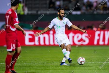 Abdullah Otayf of Saudi Arabia (R) in action during the AFC Asian Cup UAE 2019 Group C match between Saudi Arabia (KSA) and North Korea (PRK) at Rashid Stadium
