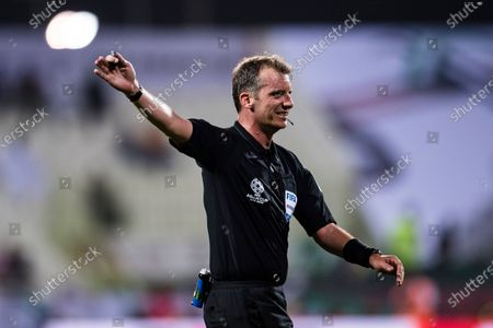 Stock Image of FIFA Referee Peter Green of Australia gestures during the AFC Asian Cup UAE 2019 Group C match between Saudi Arabia (KSA) and North Korea (PRK) at Rashid Stadium