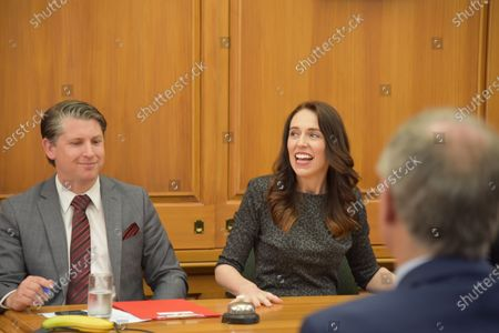 Stock Image of New Zealand Prime Minister Jacinda Ardern (R), and senior whip Michael Wood (L) chair the first party meeting of Prime Minister Jacinda Ardern's second term, at Parliament House in Wellington, New Zealand, 20 October 2020. Ardern won a landslide victory in the general election held on 17 October.
