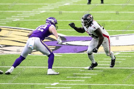 Atlanta Falcons defensive end Allen Bailey (93) in action against Minnesota Vikings tight end Kyle Rudolph (82) in the fourth quarter during an NFL football game, in Minneapolis. The Falcons defeated the Vikings 40-23
