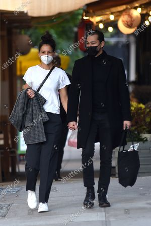 Stock Image of Katie Holmes and Emilio Vitolo Jr. walk around in SoHo.