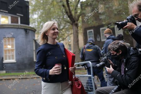 Secretary of State for International Trade Liz Truss arrives on Downing Street to attend the cabinet meeting.
