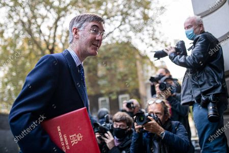 Leader of the House of Commons Jacob Rees-Mogg arrives on Downing Street to attend the cabinet meeting.