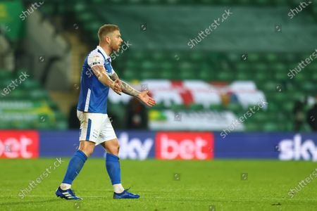 Adam Clayton of Birmingham City appeals to the referee as he is shown a second yellow card and red for a foul on Cantwell; Carrow Road, Norwich, Norfolk, England, English Football League Championship Football, Norwich versus Birmingham City.