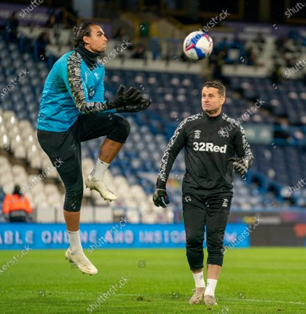 Shay Given goalkeeper coaching during warm-up; 20th October 2020 The John Smiths Stadium, Huddersfield, Yorkshire, England; English Football League Championship Football, Huddersfield Town versus Derby County.