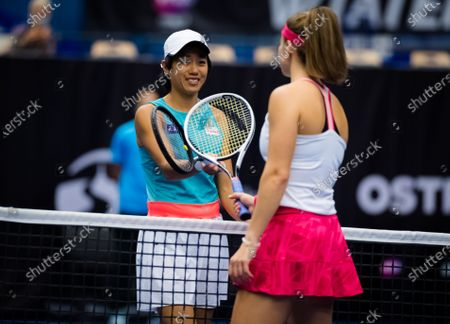 Stock Image of Shuai Zhang of China in action during the second round at the 2020 J&T Banka Ostrava Open WTA Premier tennis tournament