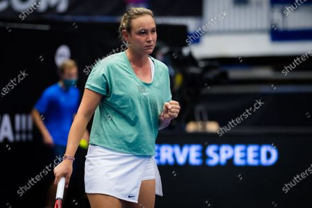 Donna Vekic of Croatia in action during the second round at the 2020 J&T Banka Ostrava Open WTA Premier tennis tournament