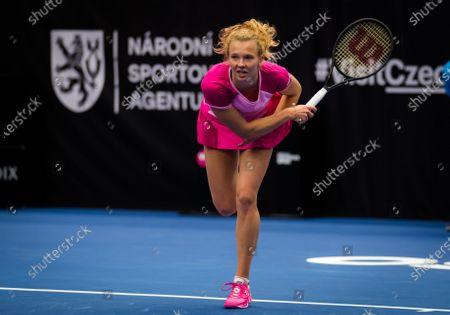 Katerina Siniakova of the Czech Republic in action during the first round at the 2020 J&T Banka Ostrava Open WTA Premier tennis tournament