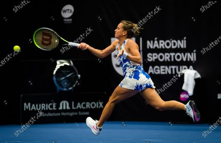 Barbora Strycova of the Czech Republic in action during the first round at the 2020 J&T Banka Ostrava Open WTA Premier tennis tournament