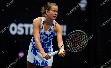 Stock Photo of Barbora Strycova of the Czech Republic in action during the first round at the 2020 J&T Banka Ostrava Open WTA Premier tennis tournament