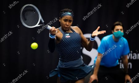 Cori Gauff of the United States in action during the first round at the 2020 J&T Banka Ostrava Open WTA Premier tennis tournament