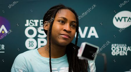 Cori Gauff of the United States talks to the media after winning her first-round match at the 2020 J&T Banka Ostrava Open WTA Premier tennis tournament