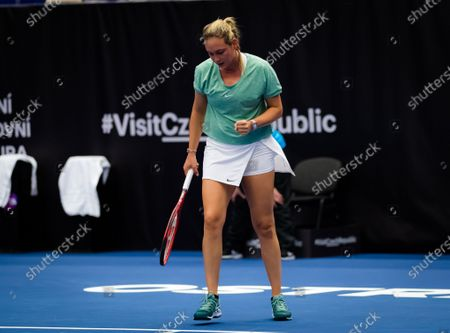 Stock Picture of Donna Vekic of Croatia in action during the second round at the 2020 J&T Banka Ostrava Open WTA Premier tennis tournament