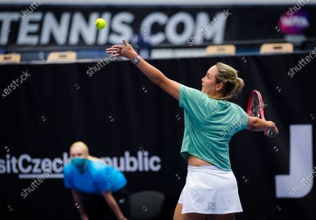 Stock Image of Donna Vekic of Croatia in action during the second round at the 2020 J&T Banka Ostrava Open WTA Premier tennis tournament