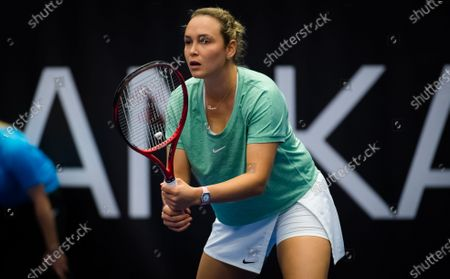 Stock Photo of Donna Vekic of Croatia in action during the second round at the 2020 J&T Banka Ostrava Open WTA Premier tennis tournament