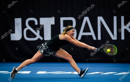 Jelena Ostapenko of Latvia in action during the first round at the 2020 J&T Banka Ostrava Open WTA Premier tennis tournament