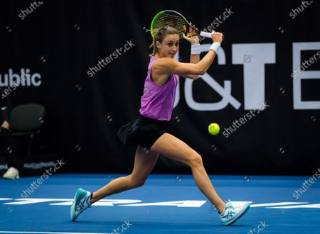 Petra Martic of Croatia in action during the first round at the 2020 J&T Banka Ostrava Open WTA Premier tennis tournament