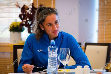 Sara Sorribes Tormo of Spain tastes Czech food at the 2020 J&T Banka Ostrava Open WTA Premier tennis tournament