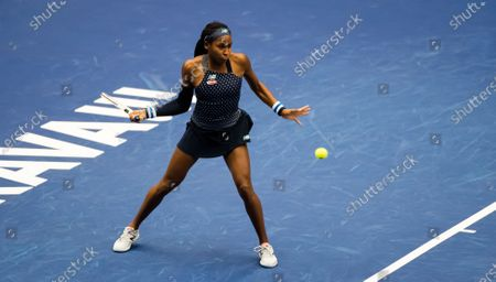 Coco Gauff of the United States in action during the second round at the 2020 J&T Banka Ostrava Open WTA Premier tennis tournament