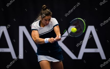 Sara Sorribes Tormo of Spain in action during the quarter-final at the 2020 J&T Banka Ostrava Open WTA Premier tennis tournament