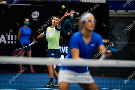 Demi Schuurs of the Netherlands & Kirsten Flipkens of Belgium in action during the doubles semifinal at the 2020 J&T Banka Ostrava Open WTA Premier tennis tournament