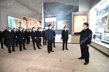 Xi Jinping and other Communist Party of China and state leaders Li Keqiang, Li Zhanshu, Wang Yang, Wang Huning, Zhao Leji, Han Zheng and Wang Qishan visit an exhibition commemorating the 70th anniversary of the Chinese People's Volunteers (CPV) army entering the Democratic People's Republic of Korea (DPRK) in the War to Resist U.S. Aggression and Aid Korea at the Military Museum of the Chinese People's Revolution in Beijing, capital of China, Oct. 19, 2020.