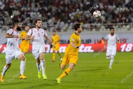 Robbie Kruse of Australia (R) in action during the AFC Asian Cup UAE 2019 Group B match between Australia (AUS) and Syria (SYR) at Khalifa Bin Zayed Stadium on 15 January 2019 in Al Ain, United Arab Emirates. Photo by Marcio Rodrigo Machado / Power Sport Images