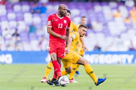 Khalil Baniateyah of Jordan ((L) competes for the ball with Josh Risdon of Australia during the AFC Asian Cup UAE 2019 Group B match between Australia (AUS) and Jordan (JOR) at Hazza Bin Zayed Stadium on 06 January 2019 in Al Ain, United Arab Emirates. Photo by Marcio Rodrigo Machado / Power Sport Images