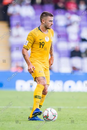 Josh Risdon of Australia in action during the AFC Asian Cup UAE 2019 Group B match between Australia (AUS) and Jordan (JOR) at Hazza Bin Zayed Stadium on 06 January 2019 in Al Ain, United Arab Emirates. Photo by Marcio Rodrigo Machado / Power Sport Images