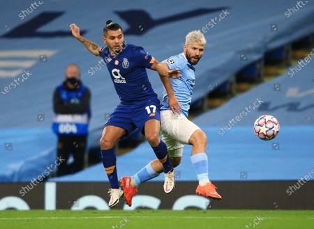 Stock Picture of Sergio Aguero of Manchester City and Jesus Manuel Corona of Porto