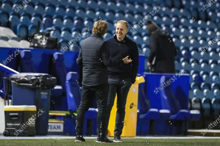 Stock Picture of Garry Monk manager of Sheffield Wednesday and Thomas Frank manager of Brentford chat before the game