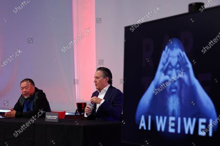 "The Chinese contemporary artist Ai Weiwei (L) during the press conference to announce the inauguration in Lisbon, next June, of the exhibition ""Rapture"", Lisbon, Portugal, 20 October 2020."