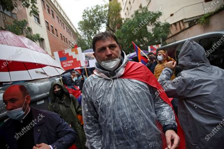 Spanish-Armenian actor Hovik Keuchkerian takes part in a protest against the fighting between Azerbaijan and Armenia in and around the disputed enclave of Nagorno-Karabakh, in Madrid, Spain, 20 October 2020. Armed clashes erupted on 27 September 2020 in the simmering territorial conflict between Azerbaijan and Armenia over the Nagorno-Karabakh territory of the self-proclaimed Nagorno-Karabakh Republic. Both sides accuse each other of breaking a ceasefire that was agreed on on 18 October.