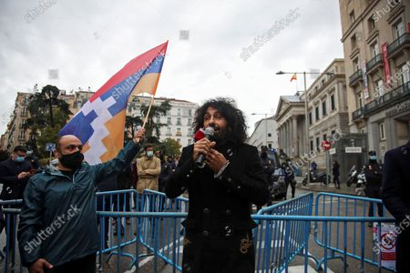 Lebanese-Armenian violinist Ara Malikian takes part in a protest against the fighting between Azerbaijan and Armenia in and around the disputed enclave of Nagorno-Karabakh, in Madrid, Spain, 20 October 2020. Armed clashes erupted on 27 September 2020 in the simmering territorial conflict between Azerbaijan and Armenia over the Nagorno-Karabakh territory of the self-proclaimed Nagorno-Karabakh Republic. Both sides accuse each other of breaking a ceasefire that was agreed on on 18 October.