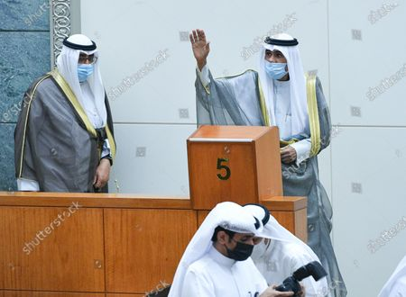 Emir of Kuwait Sheikh Nawaf Al-Ahmad Al-Jaber Al-Sabah (R) and Kuwait Crown Prince Sheikh Mishaal Al-Ahmad Al-Jaber Al-Sabah (C) upon arrival to attend the inaugural session of the new parliament term at National Assembly in Kuwait City, Kuwait, 20 October 2020.