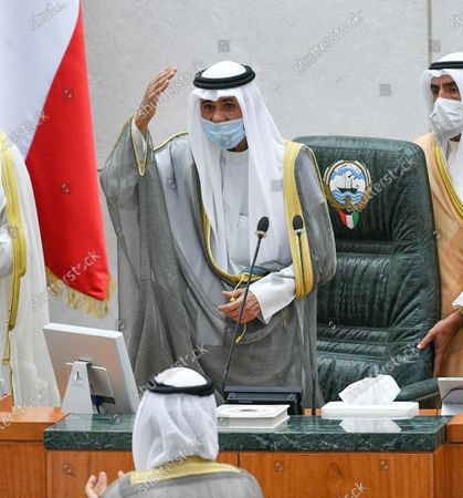 Emir of Kuwait Sheikh Nawaf Al-Ahmad Al-Jaber Al-Sabah  waves upon arrival to attend the inaugural session of the new parliament term at National Assembly in Kuwait City, Kuwait, 20 October 2020.