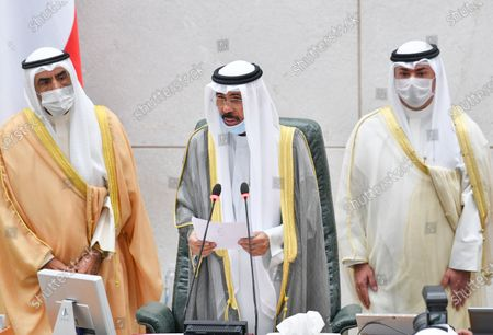 Emir of Kuwait Sheikh Nawaf Al-Ahmad Al-Jaber Al-Sabah (C) addresses the inaugural session of the new parliament term at National Assembly in Kuwait City, Kuwait, 20 October 2020.