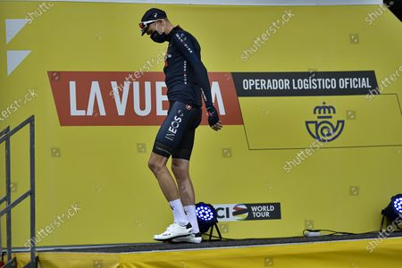 Ineos's Chris Froome wearing face mask as protection against COVID-19, before starting the first stage of La Vuelta between Irun - Arrate.Eibar, 173 km, of the Spanish Vuelta cycling race that finishes in Arrate, northern Spain