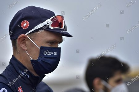 Stock Image of Ineos's Chris Froome wearing face mask as protection against COVID-19, before starting the first stage of La Vuelta between Irun - Arrate.Eibar, 173 km, of the Spanish Vuelta cycling race that finishes in Arrate, northern Spain