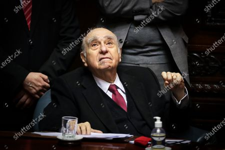 Former Uruguayan president Julio Maria Sanguinetti participates in a session of Parliament, in Montevideo, Uruguay, 20 October 2020. The former presidents of Uruguay Julio Maria Sanguinetti (1985-1990 and 1995-2000) and Jose Mujica (2010-2015) participate in an extraordinary session in which both will resign their senatorial seats. 'Because the virus threw me out, because I am 85 years old and have an immune disease. I love politics, but I love not dying even more,' Mujica reasoned to the journalists who questioned him about his withdrawal at the entrance to the Upper House. Sanguinetti and Mujica won their seats in the elections held in October 2019, but their advanced age (Sanguinetti is 84 and Mujica 85) has made them justify their absence from the rest of the legislative period, which ends in 2025.