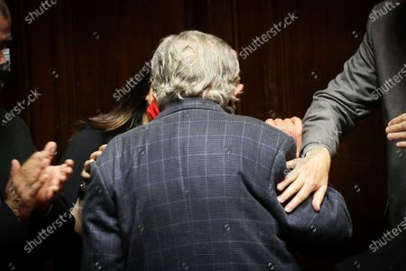 Former Uruguayan President Jose Mujica leaves Parliament after announcing his resignation from the Senate, in Montevideo, Uruguay, 20 October 2020. The former presidents of Uruguay Julio Maria Sanguinetti (1985-1990 and 1995-2000) and Jose Mujica (2010-2015) participate in an extraordinary session in which both will resign their senatorial seats. 'Because the virus threw me out, because I am 85 years old and have an immune disease. I love politics, but I love not dying even more,' Mujica reasoned to the journalists who questioned him about his withdrawal at the entrance to the Upper House. Sanguinetti and Mujica won their seats in the elections held in October 2019, but their advanced age (Sanguinetti is 84 and Mujica 85) has made them justify their absence from the rest of the legislative period, which ends in 2025.