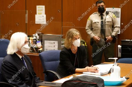 "Criminal Defense attorney Sharon Appelbaum who is representing actor Danny Masterson with defense attorney Thomas Mesereau, left, addresses the judge during a hearing in Los Angeles Superior Court Monday October 19, 2020. ""That 70's Show"" cast member Masterson has been accused of raping multiple women at his Hollywood Hills home. Superior Court on Monday, Oct. 19, 2020 in Los Angeles, CA. (Al Seib / Los Angeles Times"